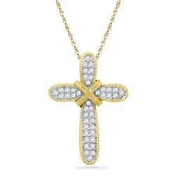 0.12 CTW Diamond Bound Cross Pendant 10KT Yellow Gold - REF-12N2F