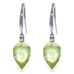 Genuine 19.1 ctw Green Amethyst & Diamond Earrings Jewelry 14KT White Gold - REF-41N3R
