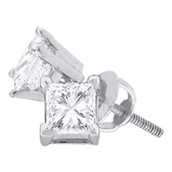 1.46 CTW Princess Diamond Solitaire Stud Earrings 14KT White Gold - REF-404Y9X