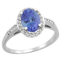 Natural 1.43 ctw Tanzanite & Diamond Engagement Ring 14K White Gold - REF-54R7Z
