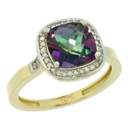 Natural 3.94 ctw Mystic-topaz & Diamond Engagement Ring 10K Yellow Gold - REF-29F2N
