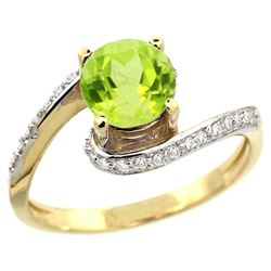 Natural 0.99 ctw peridot & Diamond Engagement Ring 10K Yellow Gold - REF-42F2N