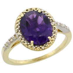 Natural 2.42 ctw Amethyst & Diamond Engagement Ring 14K Yellow Gold - REF-34M7H