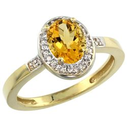 Natural 1.08 ctw Citrine & Diamond Engagement Ring 14K Yellow Gold - REF-31M3H
