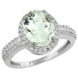 Natural 2.56 ctw Green-amethyst & Diamond Engagement Ring 14K White Gold - REF-42W2K