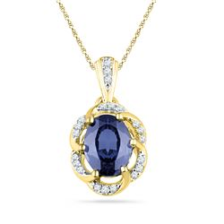 1.73 CTW Created Blue Sapphire Solitaire Diamond Pendant 10KT Yellow Gold - REF-19Y4X