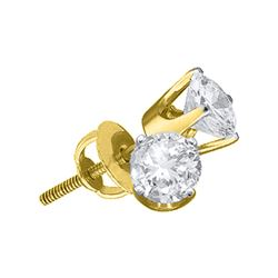 0.25 CTW Diamond Solitaire Stud Earrings 14KT Yellow Gold - REF-24N2F