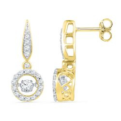 0.63 CTW Diamond Circle Moving Twinkle Solitaire Dangle Earrings 10KT Yellow Gold - REF-64Y4X