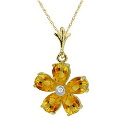 Genuine 2.22 ctw Citrine & Diamond Necklace Jewelry 14KT Yellow Gold - REF-30M2T