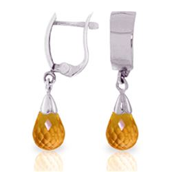 Genuine 2.5 ctw Citrine Earrings Jewelry 14KT White Gold - REF-22Y3F