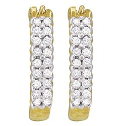 0.25 CTW Pave-set Diamond Huggie Hoop Earrings 10KT Yellow Gold - REF-16X4Y
