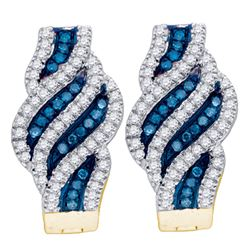 0.33 CTW Blue Color Diamond Spiral Hoop Earrings 10KT Yellow Gold - REF-44K9W