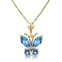 Genuine 0.60 ctw Blue Topaz Necklace Jewelry 14KT Yellow Gold - REF-23H5X