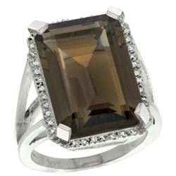 Natural 15.06 ctw Smoky-topaz & Diamond Engagement Ring 10K White Gold - REF-64V3F