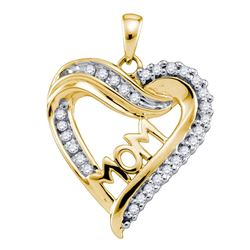 0.21 CTW Diamond Mom Mother Heart Pendant 10KT Yellow Gold - REF-19M4H