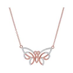 0.20 CTW Diamond Butterfly Bug Pendant 10KT Rose Gold - REF-20K9W