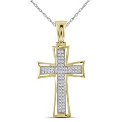 0.15 CTW Mens Diamond Cross Charm Pendant 10KT Yellow Gold - REF-33K8W