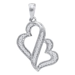 0.15 CTW Diamond Heart Love Pendant 10KT White Gold - REF-14K9W
