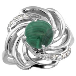 Natural 5.15 ctw malachite & Diamond Engagement Ring 14K White Gold - REF-55W4K