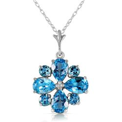Genuine 2.43 ctw Blue Topaz Necklace Jewelry 14KT White Gold - REF-29R7P