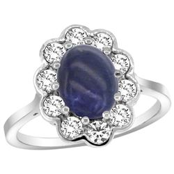 Natural 2.38 ctw Lapis-lazuli & Diamond Engagement Ring 14K White Gold - REF-79M6H