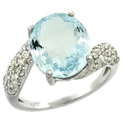 Natural 6.45 ctw aquamarine & Diamond Engagement Ring 14K White Gold - REF-85N4G