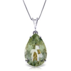 Genuine 5 ctw Green Amethyst Necklace Jewelry 14KT White Gold - REF-30F3Z