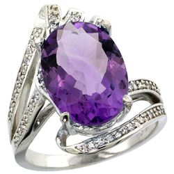 Natural 5.76 ctw amethyst & Diamond Engagement Ring 14K White Gold - REF-92K7R