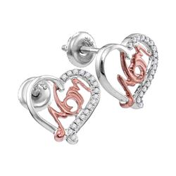 0.17 CTW Diamond Heart Mom Screwback Stud Earrings 10KT White Gold - REF-18K2W