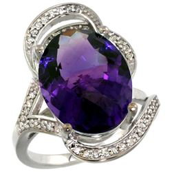 Natural 11.23 ctw amethyst & Diamond Engagement Ring 14K White Gold - REF-104W5K