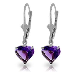 Genuine 3.25 ctw Amethyst Earrings Jewelry 14KT White Gold - REF-29X2M