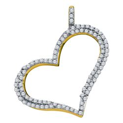 0.31 CTW Diamond Outline Heart Pendant 10KT Yellow Gold - REF-22X4Y