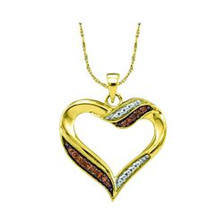 0.10 CTW Cognac-brown Color Diamond Heart Pendant 10KT Yellow Gold - REF-14N9F