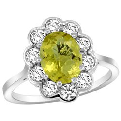 Natural 2.34 ctw Lemon-quartz & Diamond Engagement Ring 14K White Gold - REF-80H8W