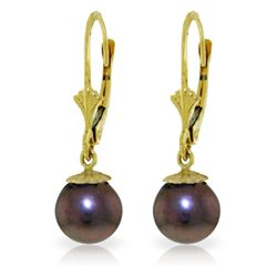 Genuine 4 ctw Black Pearl Earrings Jewelry 14KT White Gold - REF-20Z7N