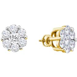 0.50 CTWDiamond Flower Screwback Stud Earrings 14k Yellow Gold - REF-41X9Y