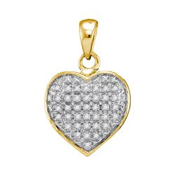 0.10 CTW Diamond Heart Love Cluster Pendant 10KT Yellow Gold - REF-8K9W