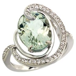 Natural 6.53 ctw green-amethyst & Diamond Engagement Ring 14K White Gold - REF-72N8G