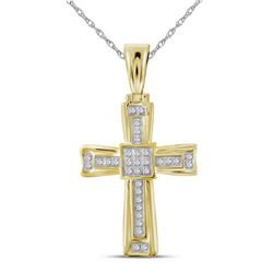 0.10 CTW Mens Diamond Cross Charm Pendant 10KT Yellow Gold - REF-22K4W