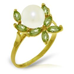 Genuine 2.65 ctw Pearl & Peridot Ring Jewelry 14KT Yellow Gold - REF-28P5H