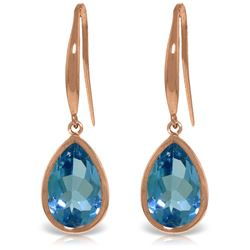 Genuine 5 ctw Blue Topaz Earrings Jewelry 14KT Rose Gold - REF-35N2R