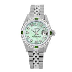Rolex Pre-owned 26mm Womens Custom Green MOP Stainless Steel - REF-470N4H
