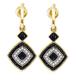 0.33 CTW Black Color Diamond Square Dangle Earrings 10KT Yellow Gold - REF-32X9Y