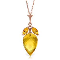 Genuine 10 ctw Citrine Necklace Jewelry 14KT Rose Gold - REF-28Z9N