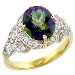 Natural 2.92 ctw mystic-topaz & Diamond Engagement Ring 14K Yellow Gold - REF-102V7F