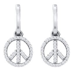 0.25 CTW Diamond Peace-sign Dangle Earrings 10KT White Gold - REF-22K4W