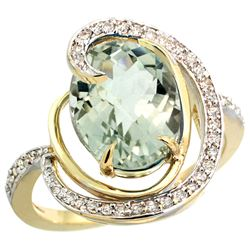 Natural 6.53 ctw green-amethyst & Diamond Engagement Ring 14K Yellow Gold - REF-72H8W