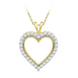 0.25 CTW Diamond Heart Outline Pendant 10KT Yellow Gold - REF-22H4M