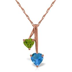 Genuine 1.40 ctw Blue Topaz & Peridot Necklace Jewelry 14KT Rose Gold - REF-23X8M