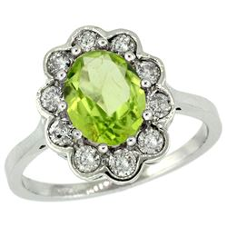 Natural 2.73 ctw Peridot & Diamond Engagement Ring 14K White Gold - REF-82F2N
